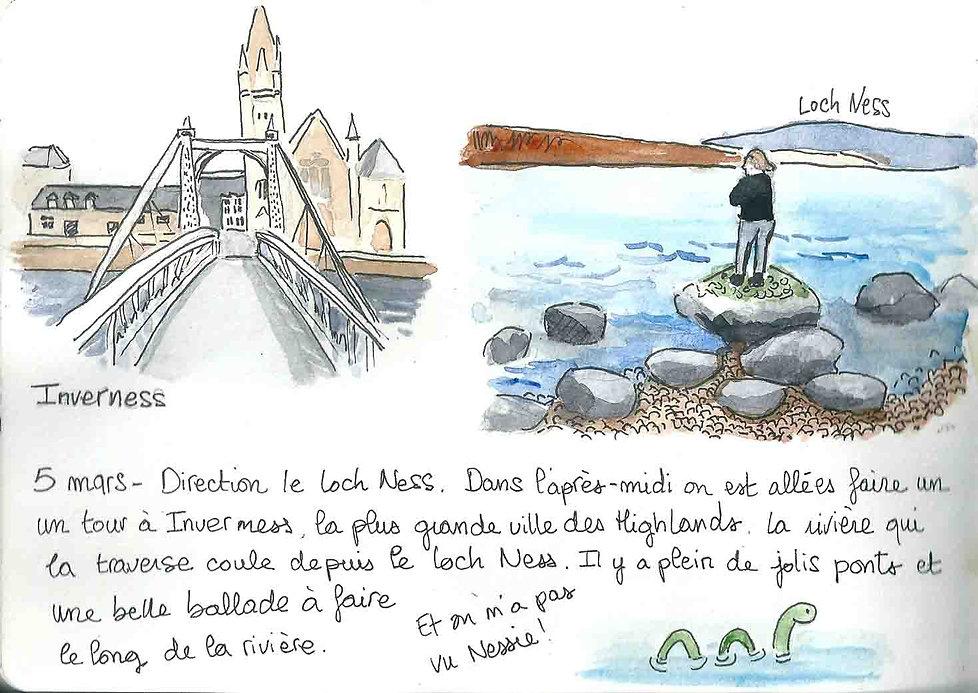 Dessins du Loch Ness et d'Inverness - Carnet de voyage en Ecosse : un roadtrip écossais illustré par les dessins de Maëlle - les plus beaux paysages d'Ecosse en dessins et en aquarelles | A Kiss from UK - Guide et blog voyage sur l'Ecosse, l'Angleterre et le Pays de Galles.