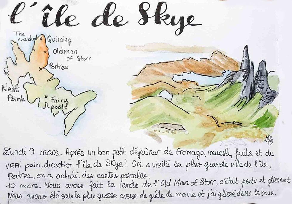 Dessin de l'île de Skye - Carnet de voyage en Ecosse : un roadtrip écossais illustré par les dessins de Maëlle - les plus beaux paysages d'Ecosse en dessins et en aquarelles | A Kiss from UK - Guide et blog voyage sur l'Ecosse, l'Angleterre et le Pays de Galles.