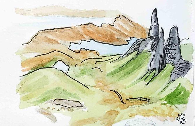 Dessin du Old Man of Storr sur l'île de Skye - Carnet de voyage en Ecosse : un roadtrip écossais illustré par les dessins de Maëlle - les plus beaux paysages d'Ecosse en dessins et en aquarelles | A Kiss from UK - Guide et blog voyage sur l'Ecosse, l'Angleterre et le Pays de Galles.