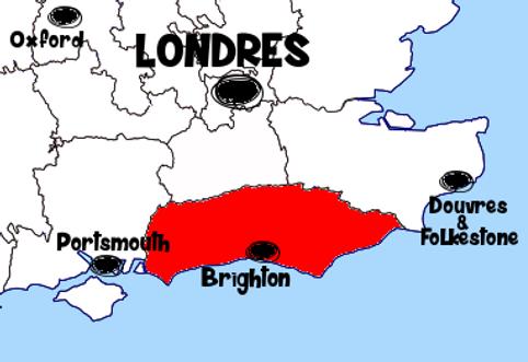 Carte Sussex - Que voir dans le Sussex en Angleterre ? Visiter le Sussex avec A Kiss from UK, le guide et blog du voyage en Ecosse, Angleterre et Pays de Galles.