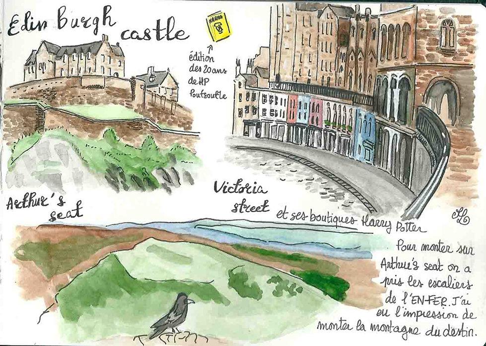Dessin d'Edimbourg - Carnet de voyage en Ecosse : un roadtrip écossais illustré par les dessins de Maëlle - les plus beaux paysages d'Ecosse en dessins et en aquarelles | A Kiss from UK - Guide et blog voyage sur l'Ecosse, l'Angleterre et le Pays de Galles.