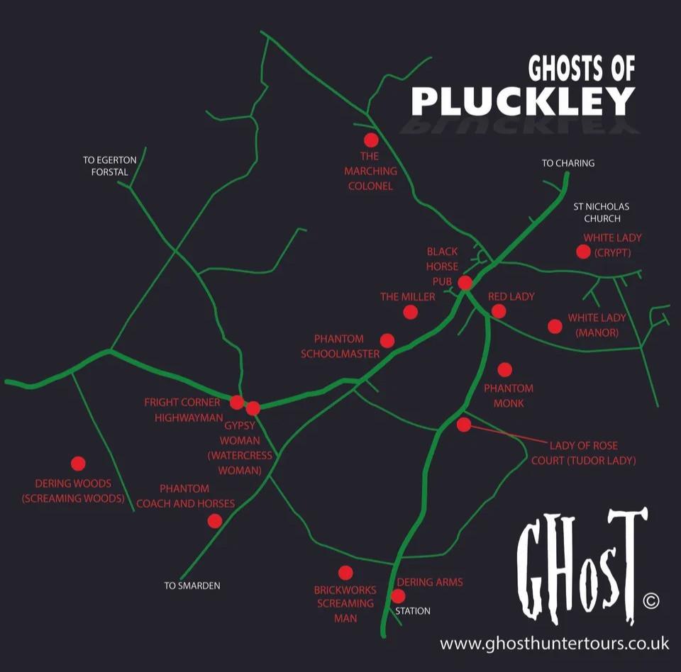 Carte des lieux hantés de Pluckley - Pluckley, le village le plus hanté d'Angleterre. Découvrez ma chasse aux fantômes à Pluckley dans le Kent. | Blog | A Kiss from UK