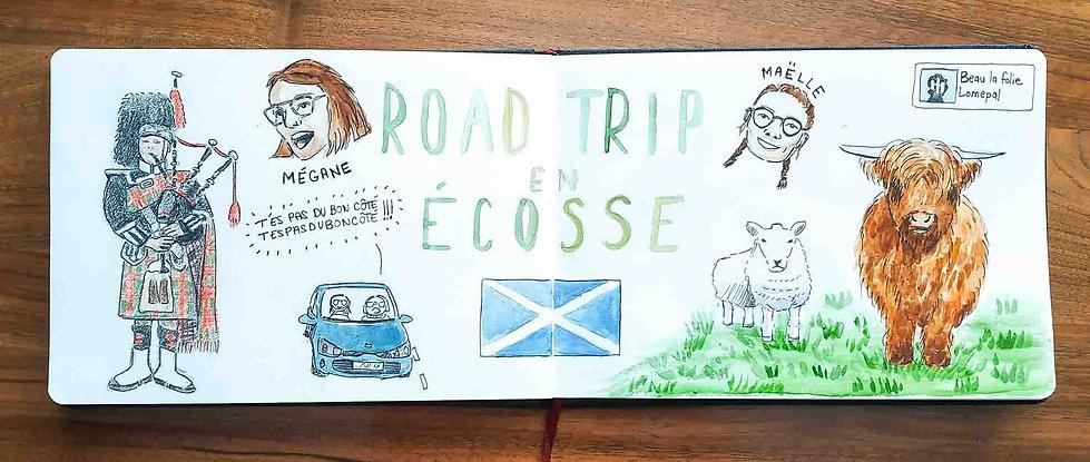 Carnet de voyage en Ecosse : un roadtrip écossais illustré par les dessins de Maëlle - les plus beaux paysages d'Ecosse en dessins et en aquarelles | A Kiss from UK - Guide et blog voyage sur l'Ecosse, l'Angleterre et le Pays de Galles.