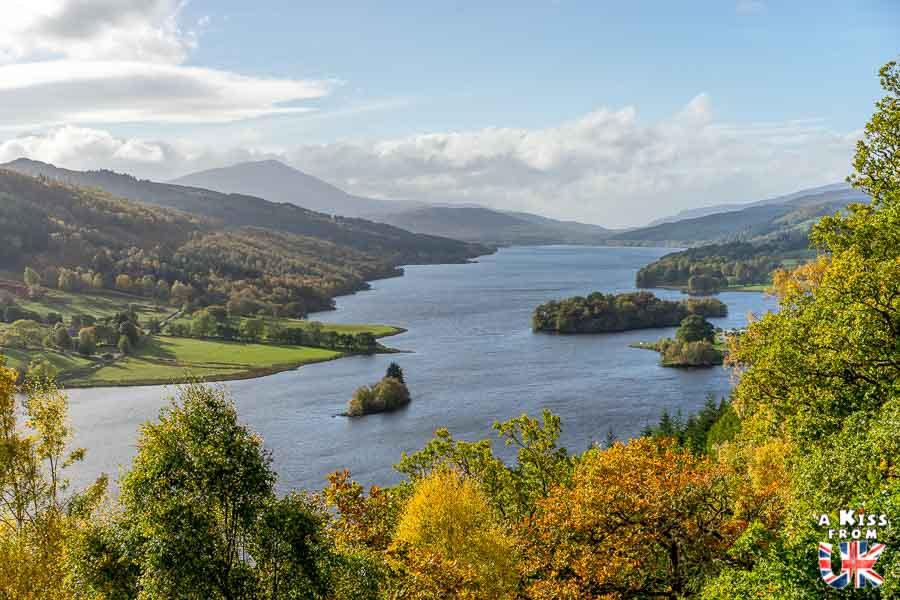 Queen's View dans le Perthshire - Les plus beaux paysages d'Ecosse. Découvrez quels sont les plus beaux endroits d'Ecosse et les plus belles merveilles naturelles d'Ecosse avec A Kiss from UK, le guide et blog du voyage en Grande-Bretagne.