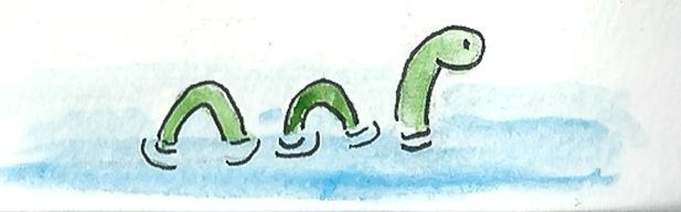 Dessin de Nessie - Carnet de voyage en Ecosse : un roadtrip écossais illustré par les dessins de Maëlle - les plus beaux paysages d'Ecosse en dessins et en aquarelles | A Kiss from UK - Guide et blog voyage sur l'Ecosse, l'Angleterre et le Pays de Galles.