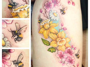 Absolutely loved every second of this tattoo of pretty flowers and bumblebees 🌸🐝🌸 amazing 7 hour session with the beautiful Bethany ☀️🌸 High