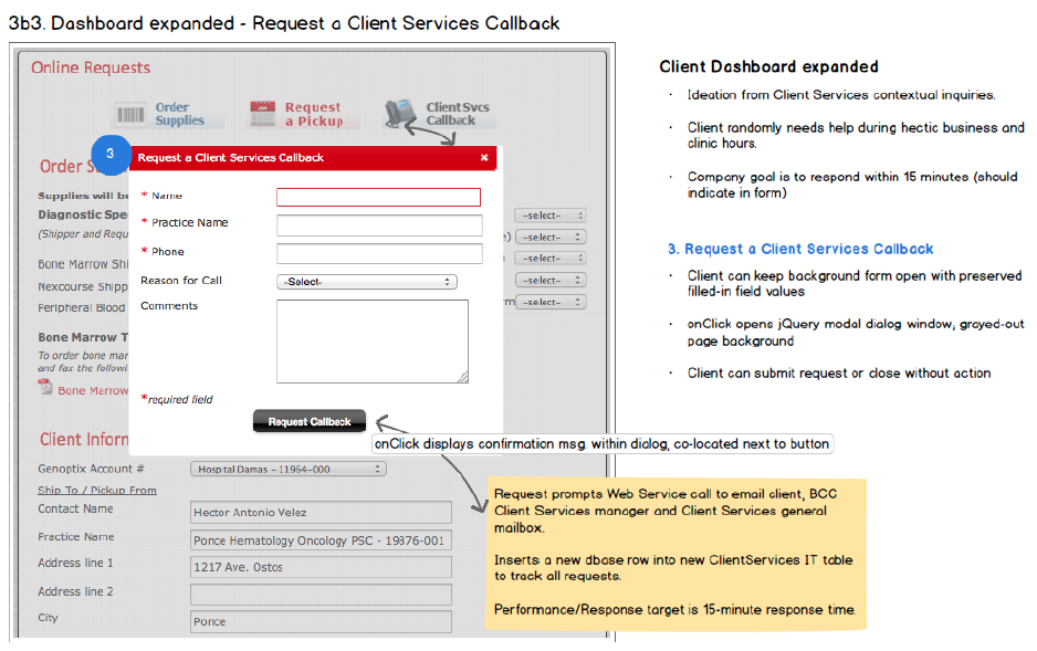 Request callback wireframe
