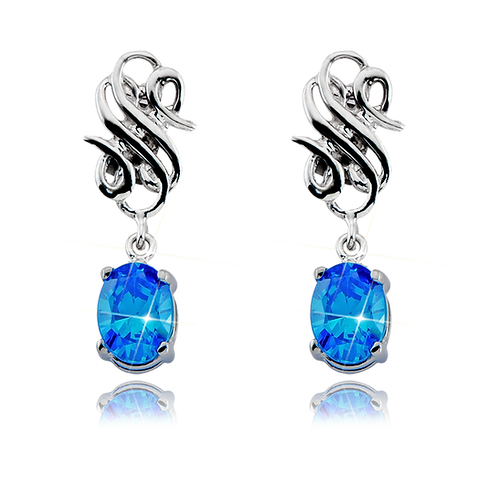 Emblem Legacy Earrings Oval Cobalt