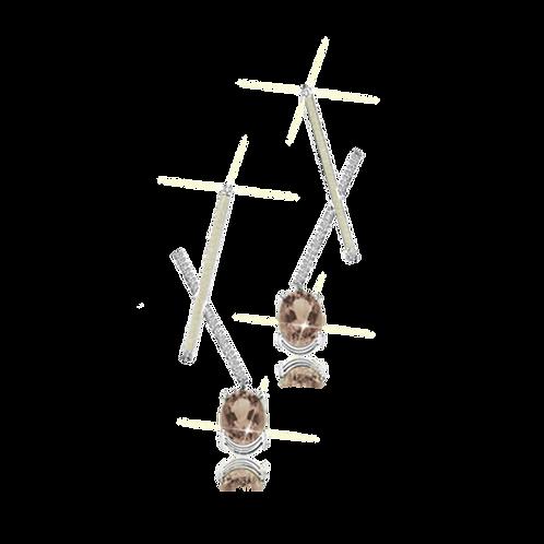 X Earrings - Smoky Topaz