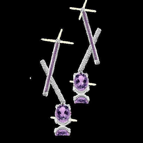 X Earrings - Amethyst