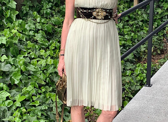 Chloe dress water colour preowner perfect condition size 36with brown belt