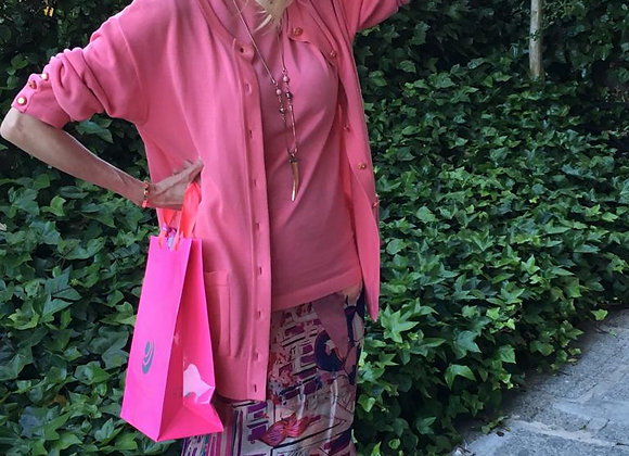Chanel twin set fucsia with bottons signed preowner perfect condition size 44