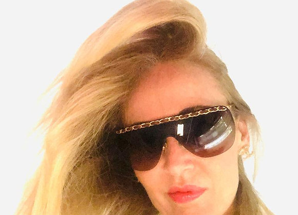 Chanel chain gold sunglasses new with cover