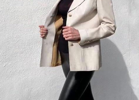 Chanel off white leather jacket