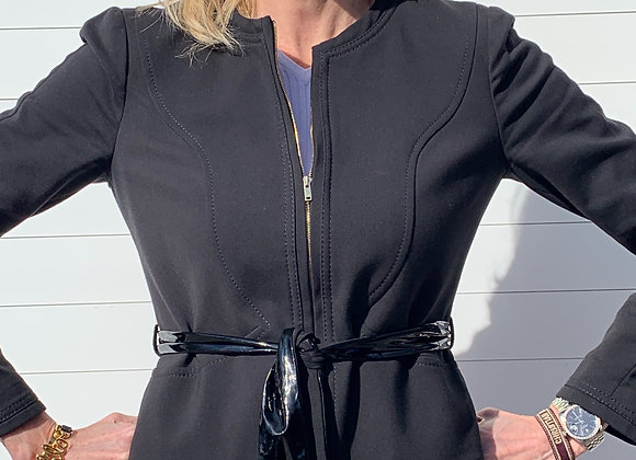 Gucci black jacket with patent leather size 44  ,preowner