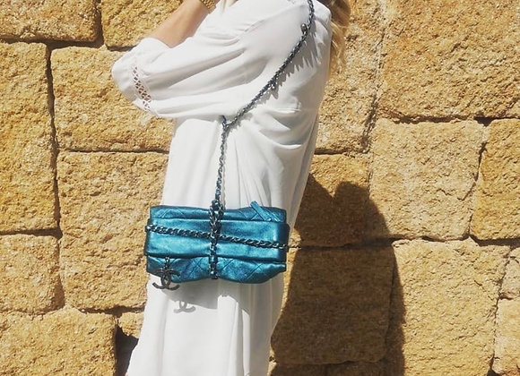 Chanel bag turquoise new bombay baluchon hw silver