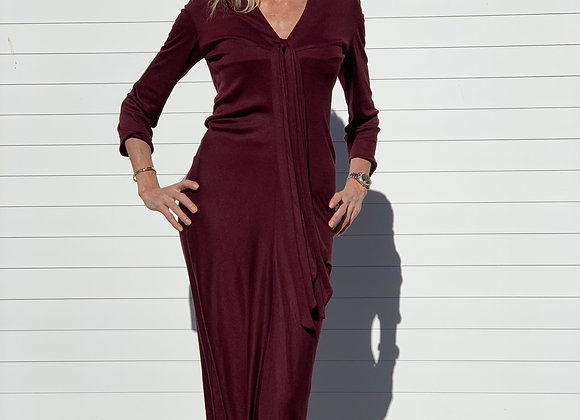 Ysl burgundy  long dress size 40 ,preowner ,perfect condition