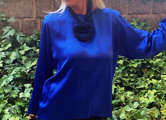 Ysl silk blue shirt preowner perfect condition size m