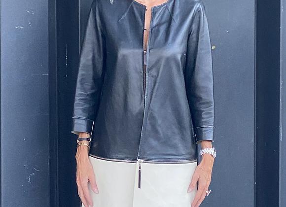Rebecca corsi leather coat