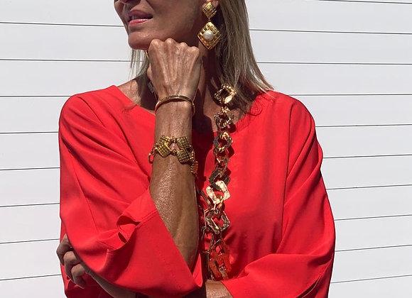 Chanel gold long earring vintage