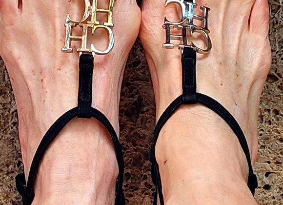 Carolina herrera black  suede sandals