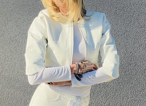 Ysl white short leather jacket