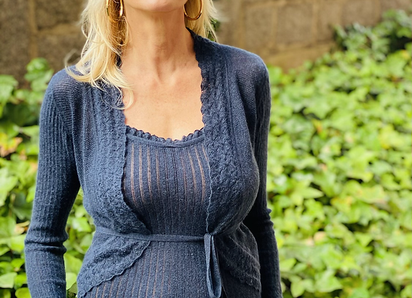 Cruciani twin set blue wool