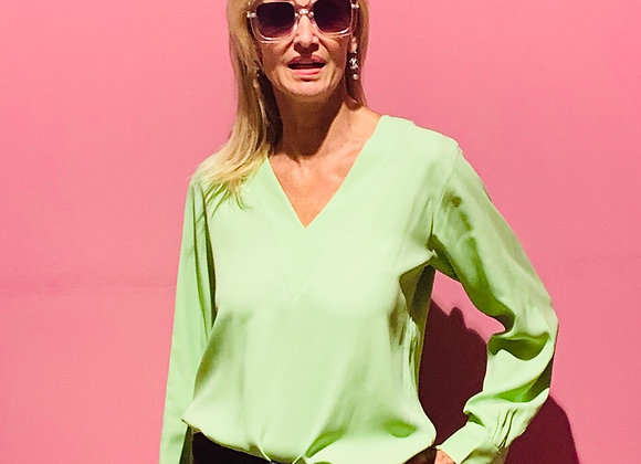 Ysl green silk shirt with pearl buttoms preowner size m
