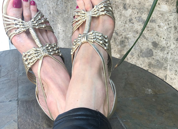 Chanel sandals champagne leather preowner like new siz 38,5 with bangels