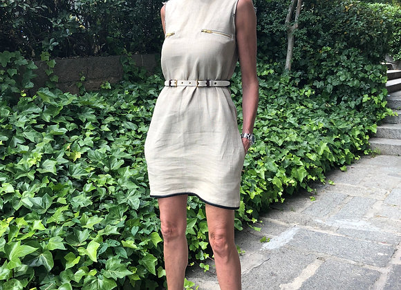 Celine lino dress with leather detail preowner perfect condition ,destroyed mode