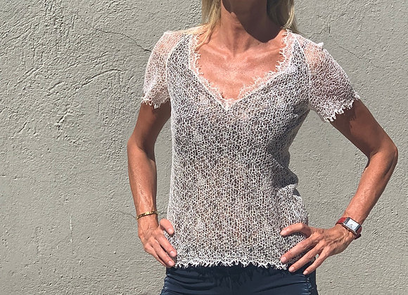 Chanel top lace with cc detail back preowner perfect condition size S