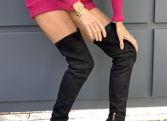 Prada over the kneeck black leather size 39
