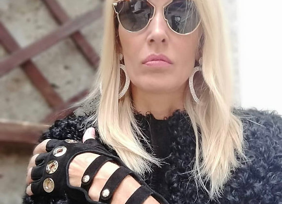 Chanel long black suede gloves with hardware gold ,preowner,