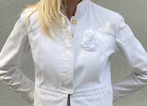Chanel white denim jacket