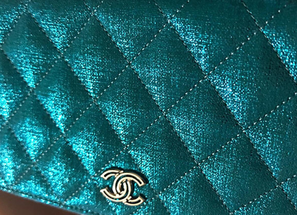 Chanel turquoise fabric eallet with zip