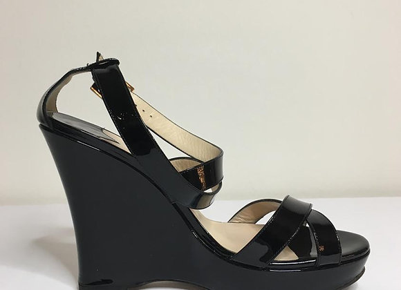 Jimmy choo black patent leather sandals size 40'5 preowner perfect  with box