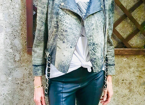 Chanel  gray leather jacket size 38