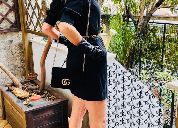 Gucci marmont black velvet bag new