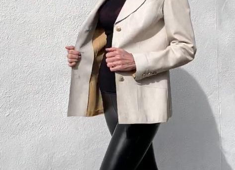Chanel white leather jacket with gold buttoms preowner perfect condition size m