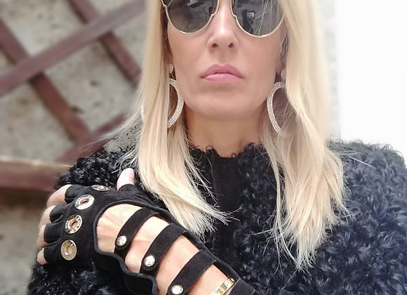 Chanel black suede gloves preowner perfect condition size s