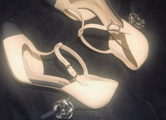 Chanel two tones shoes with silver camellia new sze 38'5 ruinning 39 ,limeted ed