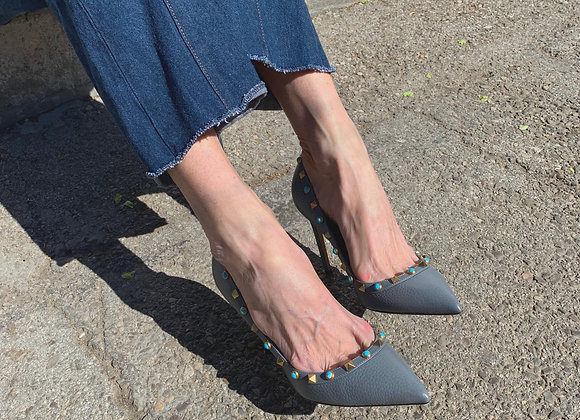 Valentino rockstuds sadals in jeans colour leather preowner like new size 39,hel
