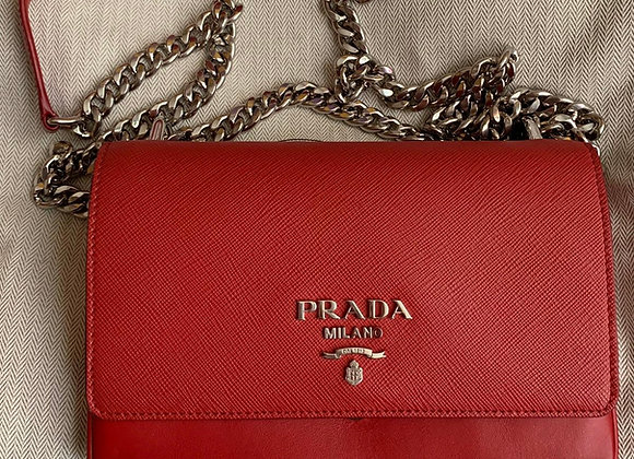 Prada woc red leather with hw silver preowner like new