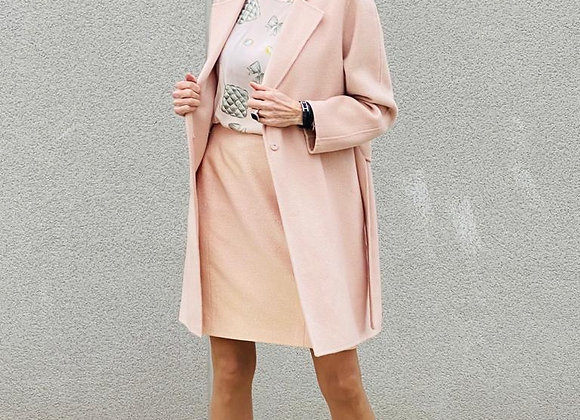 Thannac light pink coat in virgin wool