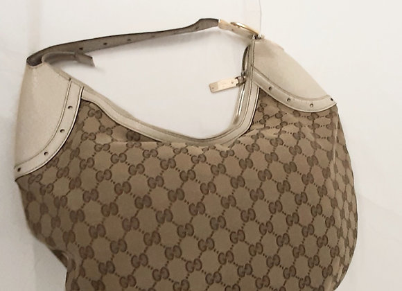 Gucci bag fabric and leather