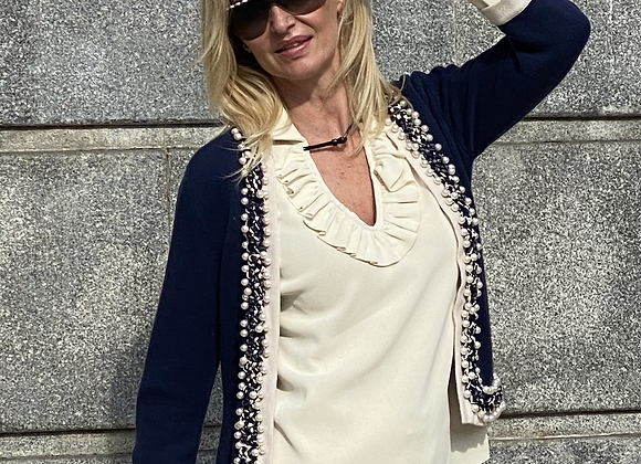 Chanel cardigan blue  with pearl