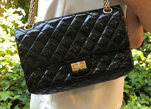 chanel bag 2.55 reissue black patent leather midium preowner double flat