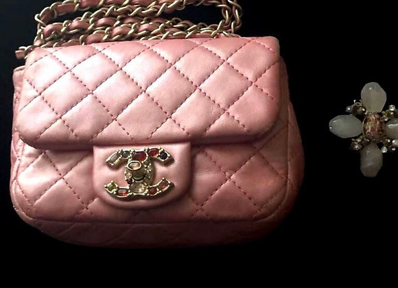 Chanel mini bag jewelry pink limited edition preowner