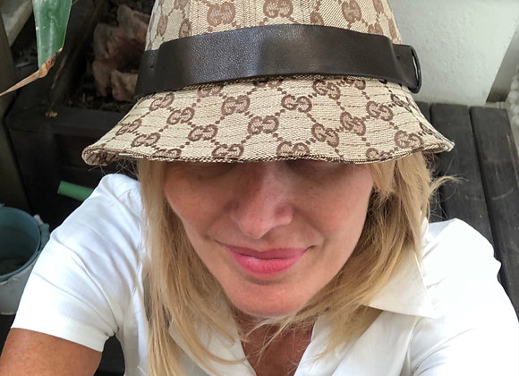 Gucci hat monogram with leather detail preowner like new size s