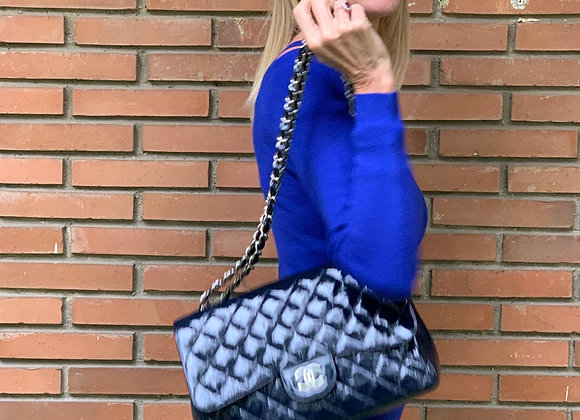 Chanel 255 patent leather jumbo bag doyble flat ,preowner ,hw silver ,perfect co